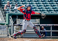 6 June 2021: Binghamton Rumble Ponies catcher Hayden Senger in action against the New Hampshire Fisher Cats at Northeast Delta Dental Stadium in Manchester, NH. The Rumble Ponies defeated the Fisher Cats 9-6 to close out their 6-game series. Mandatory Credit: Ed Wolfstein Photo *** RAW (NEF) Image File Available ***