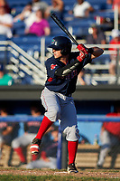 Lowell Spinners third baseman Garrett Benge (61) at bat during a game against the Batavia Muckdogs on July 11, 2017 at Dwyer Stadium in Batavia, New York.  Lowell defeated Batavia 5-2.  (Mike Janes/Four Seam Images)