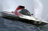 """Regates de Valleyfield, 6-8 July,2001 Salaberry de Valleyfield, Quebec, Canada.Copyright©F.Peirce Williams 2001.Ken Brodie, GP-55 """"Freedom"""", Grand Prix class hydroplane..F. Peirce Williams .photography.P.O.Box 455  Eaton, OH 45320.p: 317.358.7326  e: fpwp@mac.com"""