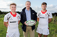 Ulster Schools U18 | Saturday 5th September 2015<br /> <br /> Ulster Schools U18 Squad 2015-2016<br /> Jonathan Stewart and Ben Finlay from Wallace High School with Danske Bank representative Mark Beattie at a recent training session at Newforge Country Club in Belfast. Photo : John Dickson - DICKSONDIGITAL