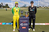 4th April 2021; Bay Oval, Taurange, New Zealand;  White Ferns captain Amy Satterwaite with Australia's captain Meg Lanning and the GJ Gardener ODI Series trophy and the Rose Bowl trophy during the 1st women's ODI White Ferns versus Australia cricket match at Bay Oval in Tauranga.