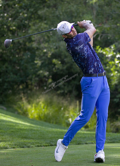 Cameron Tringale swings during the Barracuda Championship PGA golf tournament at Montrêux Golf and Country Club in Reno, Nevada on Sunday, July 28, 2019.