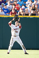 South Carolina Evan Marzilli in Game 10 of the NCAA Division One Men's College World Series on June 24th, 2010 at Johnny Rosenblatt Stadium in Omaha, Nebraska.  (Photo by Andrew Woolley / Four Seam Images)