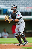 Indianapolis Indians catcher Tony Sanchez (26) makes a throw to first base against the Charlotte Knights at Knights Stadium on July 22, 2012 in Fort Mill, South Carolina.  The Indians defeated the Knights 17-1.  (Brian Westerholt/Four Seam Images)