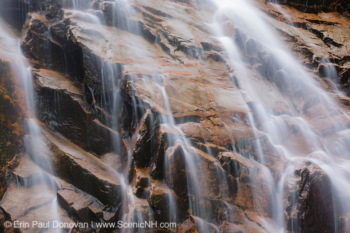 Close up of Arethusa Falls in Crawford Notch, New Hampshire during the late autumn months. This waterfall is located on Bemis Brook in the White Mountains region of New Hampshire