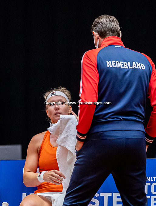 Den Bosch, The Netherlands, April 16, 2021,    Maaspoort, Billy Jean King Cup  Netherlands -  China , First Match: Kiki Bertens (NED) with captain Paul Haarhuis (NED)<br /> Photo: Tennisimages/Henk Koster