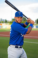 Tulsa Drillers catcher Keibert Ruiz (27) poses for a photo on May 13, 2019, at Arvest Ballpark in Springdale, Arkansas. (Jason Ivester/Four Seam Images)
