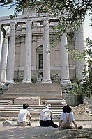 front view of the Temple of Antoninus and Faustina, Roman Forum, Rome, Italy