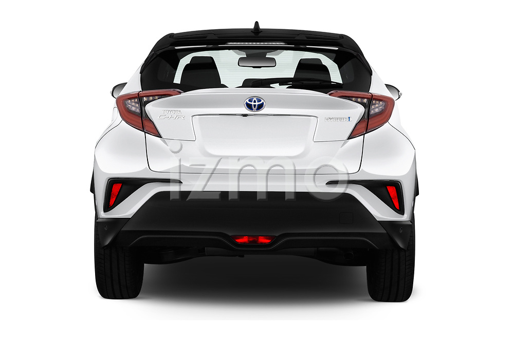 Straight rear view of a 2018 Toyota C-HR C-ULT 5 Door SUV stock images