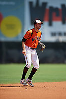 Bowie Baysox shortstop Mason McCoy (5) during an Eastern League game against the Binghamton Rumble Ponies on August 21, 2019 at Prince George's Stadium in Bowie, Maryland.  Bowie defeated Binghamton 7-6 in ten innings.  (Mike Janes/Four Seam Images)