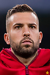 Jordi Alba of Spain listens to the national anthem before the 2018 FIFA World Cup Russia Final Qualification Round 1 Group G match between Spain and Italy on 02 September 2017, at Santiago Bernabeu Stadium, in Madrid, Spain. Photo by Diego Gonzalez / Power Sport Images