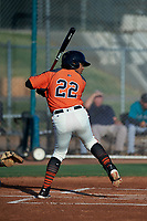 AZL Giants Orange Luis Toribio (22) at bat during an Arizona League game against the AZL Mariners on July 18, 2019 at the Giants Baseball Complex in Scottsdale, Arizona. The AZL Giants Orange defeated the AZL Mariners 7-4. (Zachary Lucy/Four Seam Images)