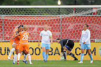 Rosana (11) of Sky Blue FC celebrates scoring with Natasha Kai (6) and Kacey White (20). Sky Blue FC defeated the Chicago Red Stars 1-0 during a Women's Professional Soccer match at Yurcak Field in Piscataway, NJ, on June 17, 2009.