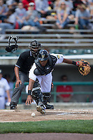 Lynchburg Hillcats catcher Juan De La Cruz (44) chases after the baseball during the game against the Frederick Keys at Calvin Falwell Field at Lynchburg City Stadium on May 14, 2015 in Lynchburg, Virginia.  The Hillcats defeated the Keys 6-3.  (Brian Westerholt/Four Seam Images)