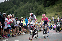 Rui Costa (POR/UAE) & Simon Clarke (AUS/EF Education First) up the Horquette d'Ancizan<br /> <br /> Stage 12: Toulouse to Bagnères-de-Bigorre (209km)<br /> 106th Tour de France 2019 (2.UWT)<br /> <br /> ©kramon