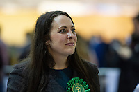 Pictured: The Green Party candidate Amelia Womack during the Newport West by-election ballot count at the Geraint Thomas National Velodrome of Wales in Newport, South Wales, UK. <br /> Thursday 04 April 2019<br /> Re: Voters in Newport West are going to the polls to elect a new member of Parliament.<br /> The seat in south east Wales became vacant following the death of Paul Flynn earlier in February.