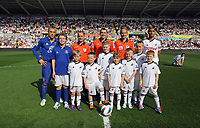 FAO SPORTS PICTURE DESK<br /> Pictured: Children mascots before kick off. Saturday, 24 March 2012<br /> Re: Premier League football, Swansea City FC v Everton at the Liberty Stadium, south Wales.
