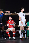 Sam Warburton (Wales) and Tom Wood(England) during the official launch of the RBS Six Nations rugby tournament at the Hurlingham Club in London..