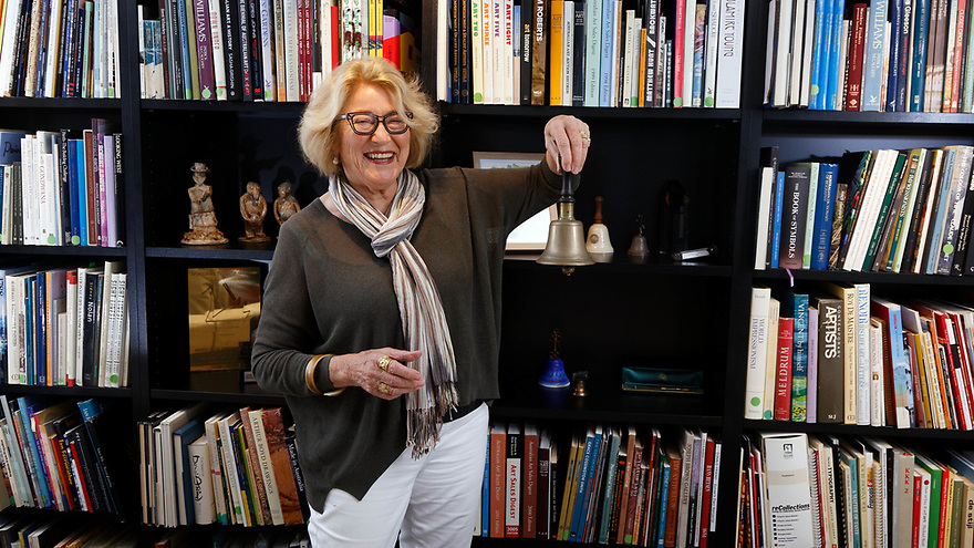 Heytesbury Chairman Janet Holmes a Court pictured in her office in Perth with a bell presented to her late husband Robert by a former neighbour of Ansett chief Reg Ansett. 19 October, 2017. photo by Trevor Collens