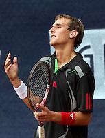 09-09-11, Tennis, Alphen aan den Rijn, Tean International, Thiemo de Bakker is grefrustreerd, hij verliest in de kwartfinale van Sijsling