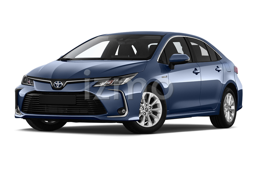 Stock pictures of low aggressive front three quarter view of a 2019 Toyota Corolla Dynamic 4 Door Sedan