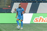 FOXBOROUGH, MA - SEPTEMBER 02: Maxime Chanot #4 of New York City FC passes the ball during a game between New York City FC and New England Revolution at Gillette Stadium on September 02, 2020 in Foxborough, Massachusetts.
