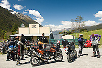 Riders at Jackson's Tavern near Otira on the road towards the Arthur's Pass - West Coast, New Zealand