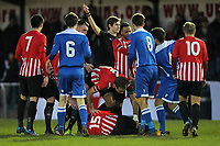 Tempers flare after a foul on Thomas Gogo (15) of Hornchurch - AFC Hornchurch vs Tonbridge Angels - Ryman League Premier Division Football at the Stadium, Upminster Bridge  - 20/12/14 - MANDATORY CREDIT: Gavin Ellis/TGSPHOTO - Self billing applies where appropriate - contact@tgsphoto.co.uk - NO UNPAID USE