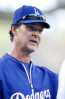 Los Angeles Dodgers Manager Don Mattingly #88 before a game against the San Francisco Giants at Dodger Stadium on October 02, 2012 in Los Angeles, California. San Francisco defeated Los Angeles 4-3. (Larry Goren/Four Seam Images)