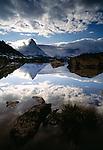 Matterhorn reflected in Riffelsee, Zermatt, Switzerland
