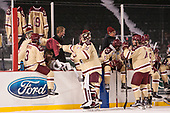 The Boston College bench hung BC sweaters with the names and numbers of Falmouth High School players James Lavin and Owen Higgins who were killed in a car accident in late December. - The Boston College Eagles defeated the Providence College Friars 3-1 (EN) on Sunday, January 8, 2017, at Fenway Park in Boston, Massachusetts.The Boston College Eagles defeated the Providence College Friars 3-1 (EN) on Sunday, January 8, 2017, at Fenway Park.
