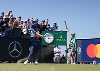 18th July 2021; Royal St Georges Golf Club, Sandwich, Kent, England; The Open Championship Golf, Day Four; Collin Morikawa (USA) hits his tee shot on the third hole