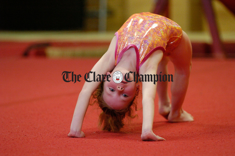 Laura O Connell gets her balance just right at the Clare Community Games Gymnastics finals in Ennis. Photograph by John Kelly.