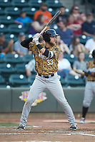 Charles Leblanc (33) of the Down East Wood Ducks at bat against the Winston-Salem Dash at BB&T Ballpark on May 12, 2018 in Winston-Salem, North Carolina. The Wood Ducks defeated the Dash 7-5. (Brian Westerholt/Four Seam Images)