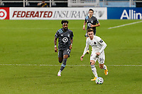 ST PAUL, MN - NOVEMBER 4: Djordje Mihailovic #14 of Chicago Fire FC passes the ball during a game between Chicago Fire and Minnesota United FC at Allianz Field on November 4, 2020 in St Paul, Minnesota.