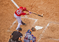 28 July 2013: Washington Nationals catcher Wilson Ramos connects against the New York Mets at Nationals Park in Washington, DC. The Nationals defeated the Mets 14-1. Mandatory Credit: Ed Wolfstein Photo *** RAW (NEF) Image File Available ***