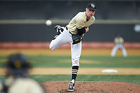 Wake Forest Demon Deacons relief pitcher William Fleming (38) delivers a pitch to the plate against the Notre Dame Fighting Irish at David F. Couch Ballpark on March 10, 2019 in  Winston-Salem, North Carolina. The Demon Deacons defeated the Fighting Irish 7-4 in game one of a double-header.  (Brian Westerholt/Four Seam Images)