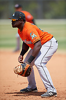 Miami Marlins Lazaro Alonso (91) during a Minor League Spring Training game against the St. Louis Cardinals on March 26, 2018 at the Roger Dean Stadium Complex in Jupiter, Florida.  (Mike Janes/Four Seam Images)