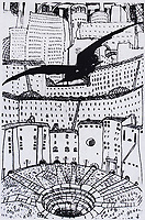 """Mstislav Dobuzhinsky (1875-1957) Flying. A sketch of the landscape from the series """"Urban Dreams"""", 1909; <br /> Material Paper, ink, pen, white."""