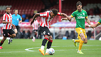 Ollie Watkins of Brentford takes a shot at the Preston North End goal during Brentford vs Preston North End, Sky Bet EFL Championship Football at Griffin Park on 15th July 2020