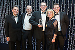 © Joel Goodman - 07973 332324 . 05/03/2015 .  Midland Hotel , Manchester , UK . L-R Eamonn O'Neill , sponsor , winner Martin Price of Slater and Gordon , Louise Straw and another sponsor . Employment Team of the Year . The Manchester Legal Awards 2015 . Photo credit : Joel Goodman