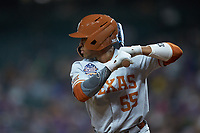 Cam Williams (55) of the Texas Longhorns at bat against the LSU Tigers in game three of the 2020 Shriners Hospitals for Children College Classic at Minute Maid Park on February 28, 2020 in Houston, Texas. The Tigers defeated the Longhorns 4-3. (Brian Westerholt/Four Seam Images)