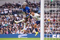 19th September 2021; Tottenham Hotspur Stadium, Tottenham, London; Antonio Rudiger of Chelsea wins the header versus Romera during the Premier League match between Tottenham Hotspur and Chelsea at Tottenham Hotspur Stadium