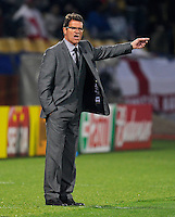 Fabio Capello manager of England calls out from the sideline. USA tied England 1-1 in the 2010 FIFA World Cup at Royal Bafokeng Stadium in Rustenburg, South Africa on June 12, 2010.