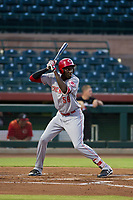 AZL Reds left fielder Edwin Yon (56) at bat against the AZL Giants on August 12, 2017 at Scottsdale Stadium in Scottsdale, Arizona. AZL Giants defeated the AZL Reds 1-0. (Zachary Lucy/Four Seam Images)