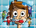Illustration of pixie fairies grooming child