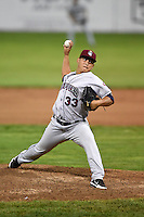 Mahoning Valley Scrappers pitcher Ramon Rodriguez (33) delivers a pitch during a game against the Batavia Muckdogs on August 22, 2014 at Dwyer Stadium in Batavia, New York.  Mahoning Valley defeated Batavia 2-1.  (Mike Janes/Four Seam Images)