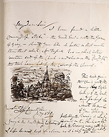 BNPS.co.uk (01202 558833)<br /> Pic: Gorringes/BNPS<br /> <br /> PICTURED: There's a hand-written letter from  Constable fastened to pages inside, alongside and ink sketch.<br /> <br /> An old poetry book could sell for £150,000 after it was found to contain lost artwork from the famous Romantic landscape painter John Constable.<br /> <br /> An auctioneer was doing a routine valuation at a countryside cottage in south east England when he spotted the book in a bookcase.<br /> <br /> He opened the 1836 illustrated edition of poet Thomas Gray's Elegy Written in a Country Churchyard and was stunned to find three watercolours by Constable fastened to pages inside, alongside a hand-written letter and ink sketch.<br /> <br /> They refer to scenes the English artist was asked to illustrate for the re-printing of the popular 1750 poem about mortality and remembrance.<br /> <br /> The lady vendor, who had no idea of the book's contents, is now selling it with auctioneers Gorringe's, of Lewes, east Sussex.