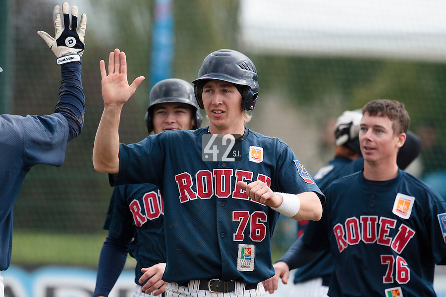 16 October 2010: Luc Piquet of Rouen celebrates during Rouen 16-4 win over Savigny, during game 1 of the French championship finals, in Savigny sur Orge, France.