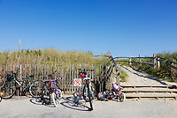 Bikes parked at a beach entrance, Stone Harbor, New Jersey, USA